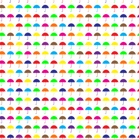 Umbrellas seamless pattern. Autumn (fall) background. Bright many colors umbrellas on the white background. Rainy weather. Protection concept. Vector illustration. Ilustração