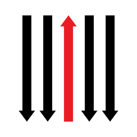 Black and red arrows. Moving back and forward. Choose the right direction. Opposition concept. Vector illustration.