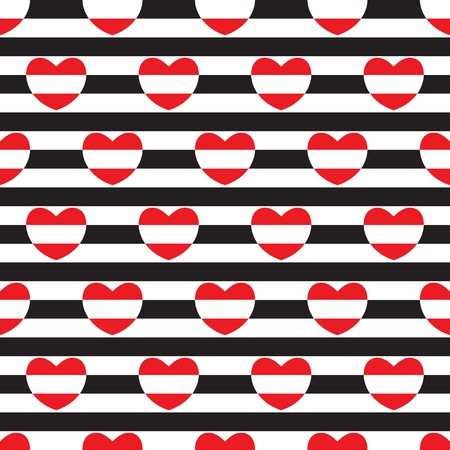 Striped seamless pattern with hearts. Vector illustration. Ilustração