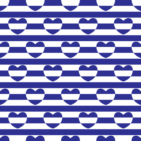 Striped seamless pattern with hearts. Blue and white colors. Vector illustration.