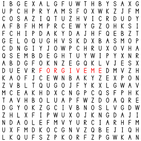 Forgive me. Find the words in the word puzzle. Word game. Seamless pattern with letters. Vector illustration.
