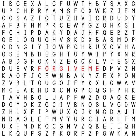 Perdonami. Trova le parole nel puzzle di parole. Gioco di parole. Modello senza cuciture con lettere. Illustrazione vettoriale.