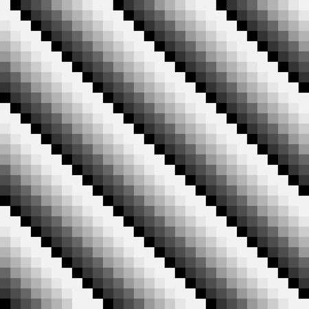 Black and white abstract seamless pixel pattern. Diagonal pattern. Pixel art. Vector illustration. Ilustração