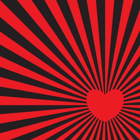 Red heart radiating red rays. Pop art style. Bright vector illustration.