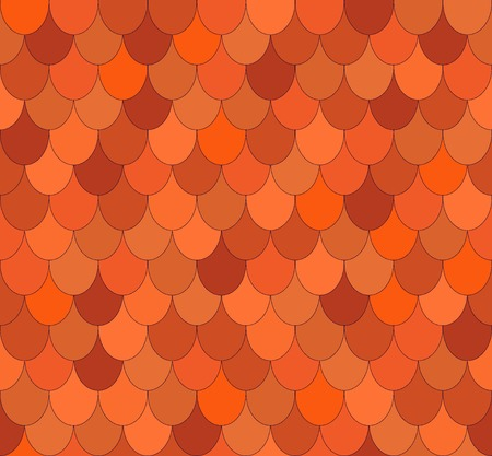 Seamless abstract geometrical pattern with ovals. Brown orange background. Roof tiles. Vector illustration.