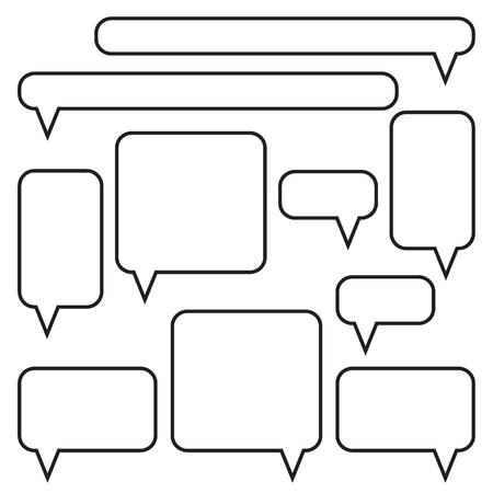 Set of speech bubbles. Message boxes. Message icons. Black and white vector illustration.