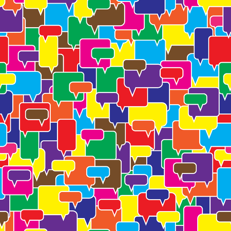 Speech bubbles seamless pattern. Message boxes. Diversity of opinions in the crowd. Symbolic discussion. Bright color vector illustration.
