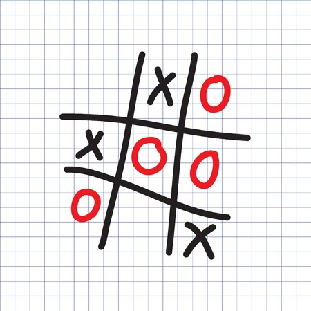 Tic-tac-toe game on the exercise book background. Vector illustration. Ilustracja