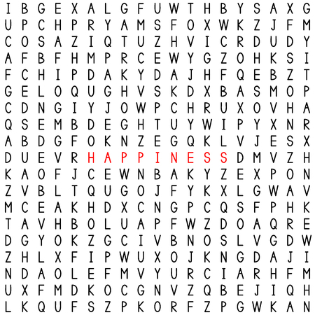 Happiness. Find the word in the word puzzle. Word game. Seamless pattern with letters. Vector illustration.
