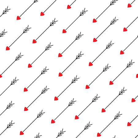 Love arrows diagonal seamless pattern. Arrows of Eros (Amour, Cupid). Vector illustration.