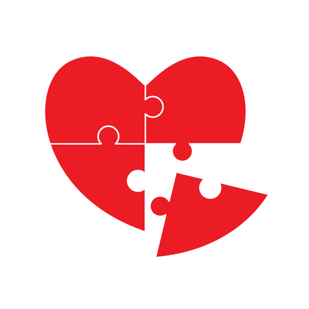 Heart puzzle. Love and relationship concept. Put the last piece. Happy Valentine's day card. Vector illustration. Imagens - 122716838