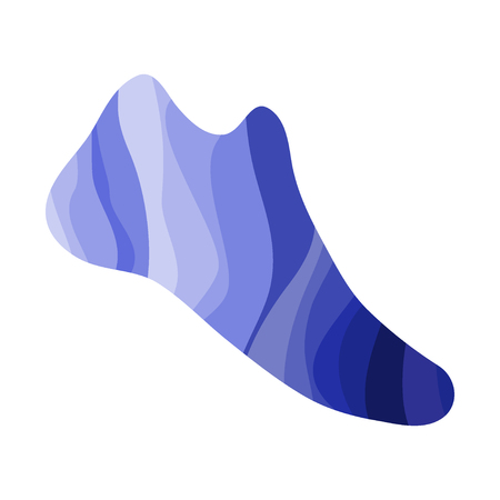 Shoe with a wavy blue pattern. Marine print on the footwear. Vector illustration.