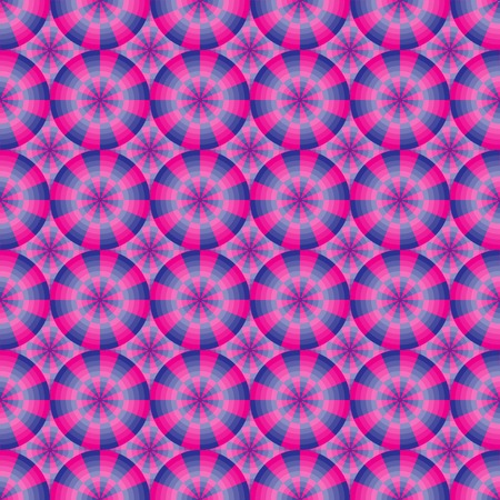 Seamless abstract geometrical pink and blue pattern with circles. Vector illustration.