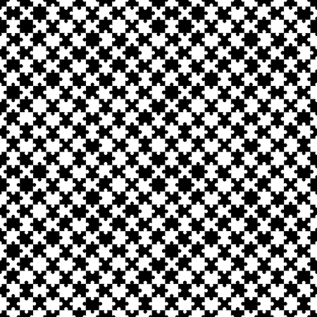 Black and white seamless puzzle pattern. Vector illustration.