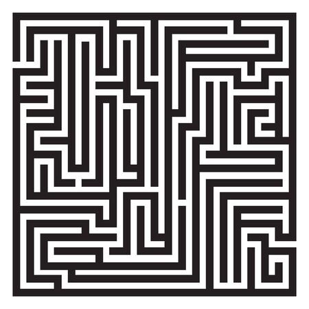 Labyrinth. Maze. Entrance and exit. Find the way. Black and white vector illustration. Stock Illustratie