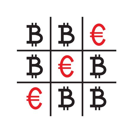 Tic-tac-toe money concept. Euros and bitcoins. Competition between currencies. Euros victory. Vector illustration.
