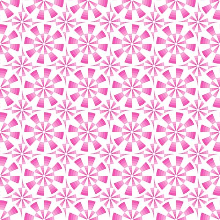 Seamless abstract geometrical pink and white pattern with circles. Vector illustration.
