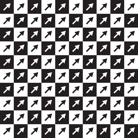 Seamless black and white checkered pattern with arrows. Vector illustration.