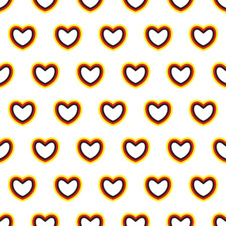 Hearts with German flags colors. Seamless pattern. Love to Germany. Vector illustration. Stock Illustratie