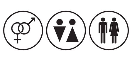 Male and female gender symbols. Man and woman. Gender concept. Icons. Black and white. Vector illustration. Illustration