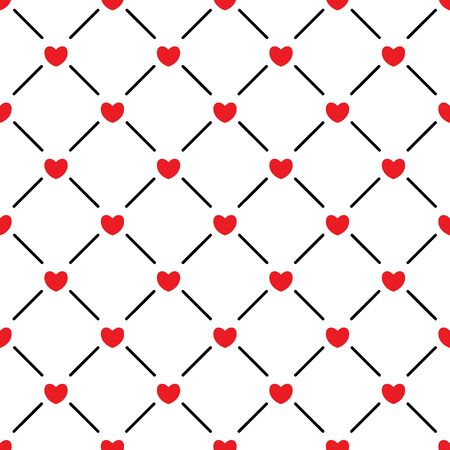 Red hearts seamless pattern. Love background. Vector illustration.