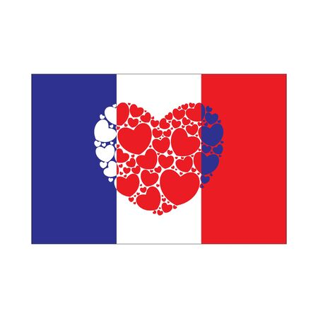 Flag of France with heart. French flag. Vector illustration. 矢量图像