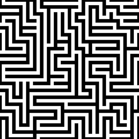 Labyrinth (maze) seamless pattern. Find the way. Black and white vector illustration.