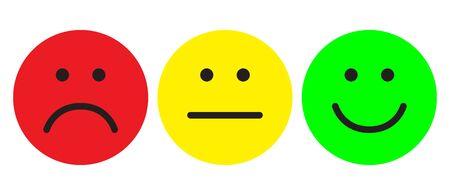 Emoticonos rojos, amarillos y verdes. Símbolos faciales. Montante plano. Ilustración de vector.