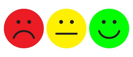 Red, yellow and green smileys. Face symbols. Flat stile. Vector illustration. Фото со стока - 131198072
