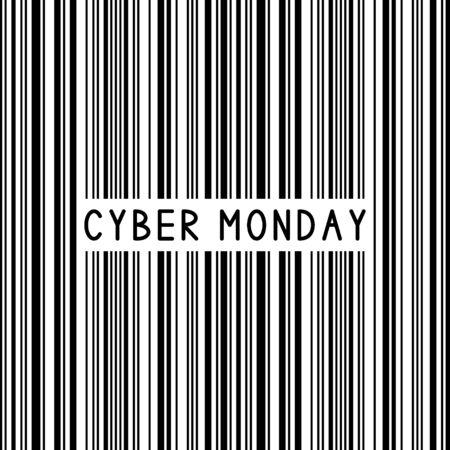 Kod kreskowy. Kod kreskowy. Cyber Poniedziałek. Sprzedaż tło. Ilustracja wektorowa.