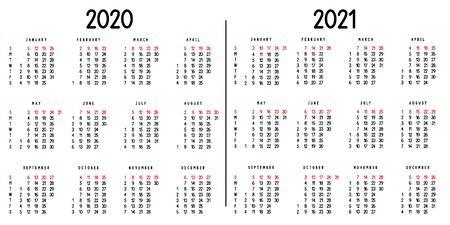 Calendar 2020 and 2021. Week starts from Sunday. Vector illustration. Иллюстрация