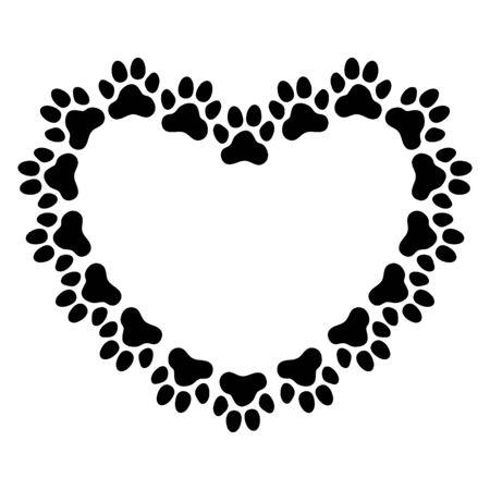 Cornice a forma di cuore realizzata con impronte di zampe. Cornice per il ritratto del tuo animale domestico. Illustrazione vettoriale. Vettoriali