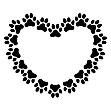 Heart shaped frame made of paw prints. Frame for your pet's portrait. Vector illustration. Vector Illustration