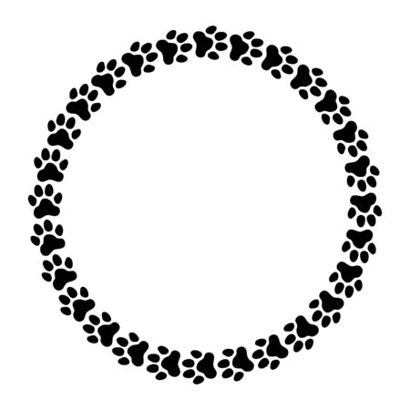 Round frame made of paw prints. Frame for your pet's portrait. Vector illustration.