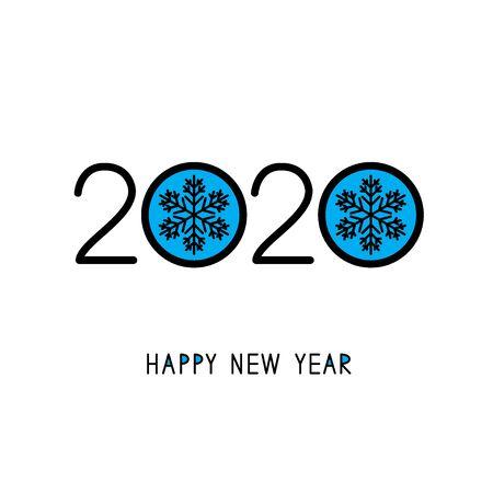 2020. Happy New Year. Season greetings. Vector illustration.