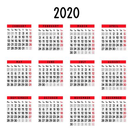 Calendar 2020. Week starts from Monday. Vector illustration.