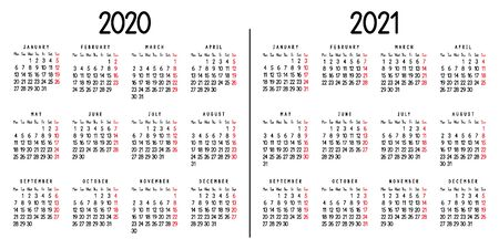 Calendar 2020 and 2021. Week starts from Monday. Vector illustration.
