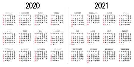 Calendar 2020 and 2021. Week starts from Sunday. Vector illustration. Ilustrace