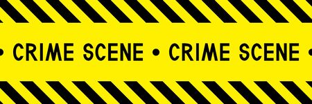 Crime scene. Police line. Warning tape.  Caution tape. Yellow and black barricade tape. Seamless stripe. Vector illustration.