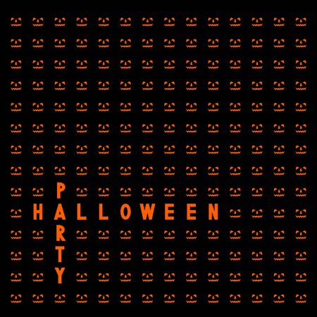 Happy Halloween card with jack-o-lanterns. Vector illustration.