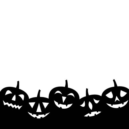 Jack-o-lanterns. Silhouettes. Happy Halloween background. Vector illustration.