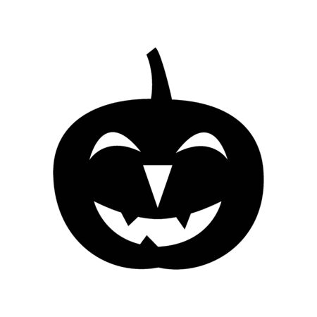 Jack-o-lantern. Silhouette. Happy Halloween icon. Black and white vector illustration. Imagens - 147868950