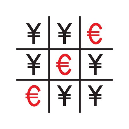 Tic-tac-toe money concept. Yuans and euros. Competition between currencies. Euros victory. Vector illustration.