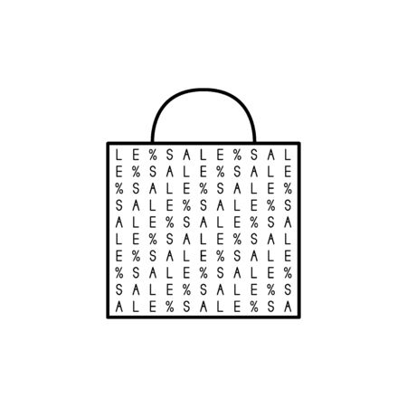 Shopping bag with sale pattern. Black and white vector illustration. Stock Illustratie