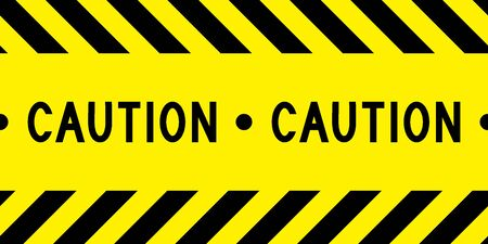 Caution tape. Yellow and black barricade tape. Safety stripes. Warning stripes. Seamless stripe. Vector illustration.