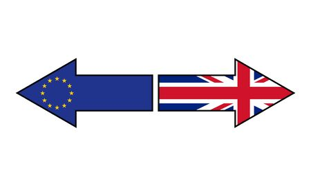 Brexit. Flags of Great Britain and European Union on the arrows showing different directions. Vector illustration. Vettoriali