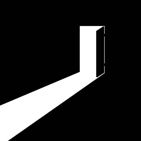 The open door out of the darkness to the light. Vector illustration.