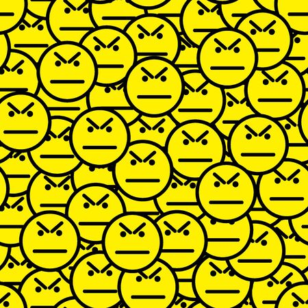 Angry faces (angry smile icons) seamless pattern. Anger and protest in a crowd. Vector illustration.