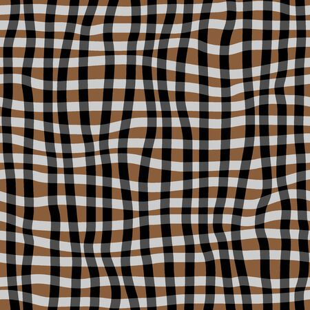 Hand drawn seamless checkered pattern. Curved lines. Vector illustration. Vettoriali