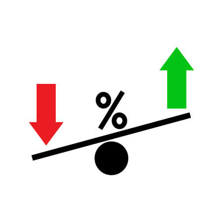 Seesaw. Rating fluctuation concept. Percents going up and down. Business concept. Vector illustration.